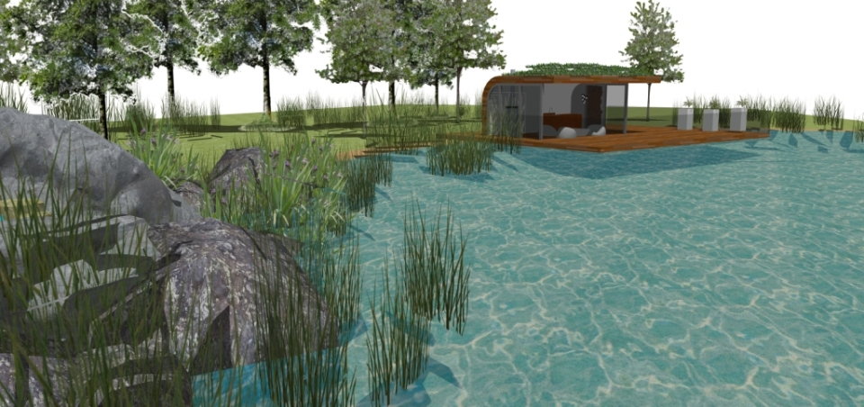 contemporary summerhouse and pond chester