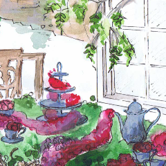 georgian tea party watercolour 240