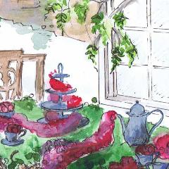 georgian tea party watercolour 240
